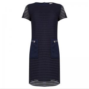 Dress fancy mesh stripe navy