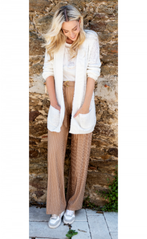 Trousers wide thin stripe logo