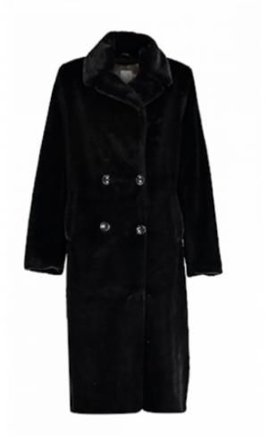Coat long fake fur logo