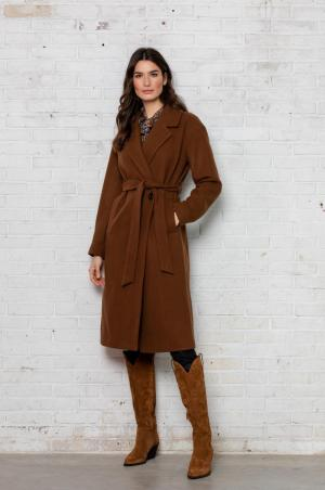 Long coat wool camel logo