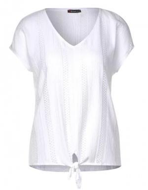 Witte T-shirt kanten detail logo