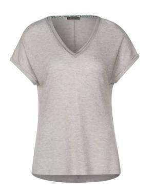 T-shirt met glitter en V-hals logo