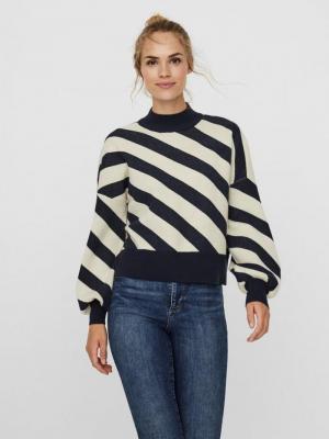 Labi stripe mockneck blouse logo