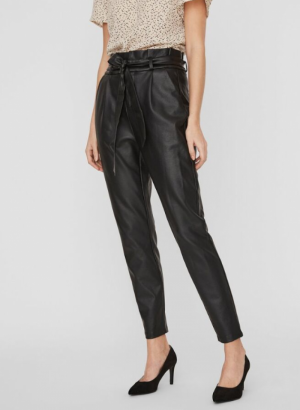 Loose paperbag coated pant black