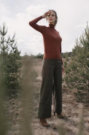 Lange geruite broek marron-bri logo