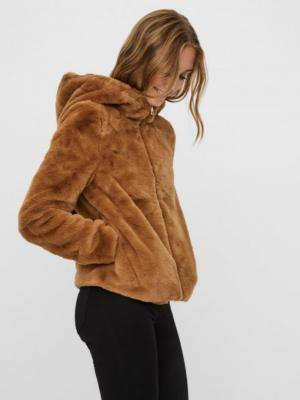 Thea hoody short faux fur jack Tabacco brown