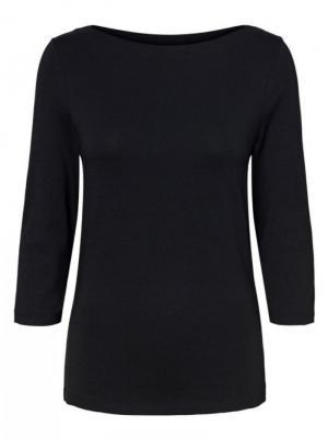 Zwarte T-shirt 3-4 mouwen logo