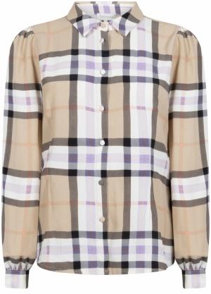 blouse l-s check print logo