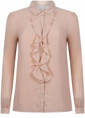 blouse ruffle plissee sleeve logo