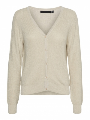 Lurex knit cardigan birch-silv logo