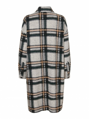 Chrissie long check shirt logo