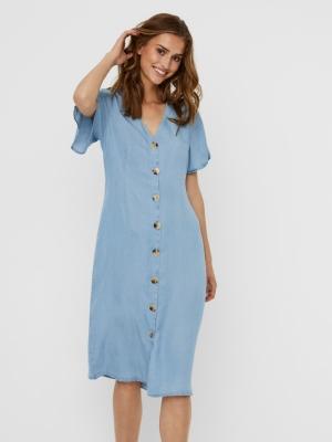 Viviana calf dress  light blue deni