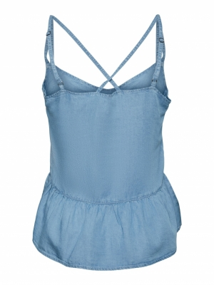 Viviana flounce singlet light blue deni