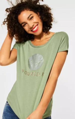 Foil print T-shirt 32902 faded gre