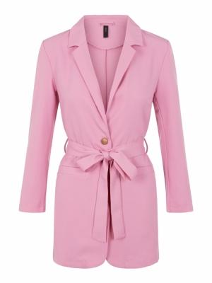 Serena loose blazer pink. logo