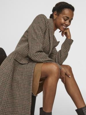 Blast check long wool jacket tan