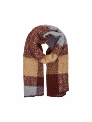 Anna long check scarf logo