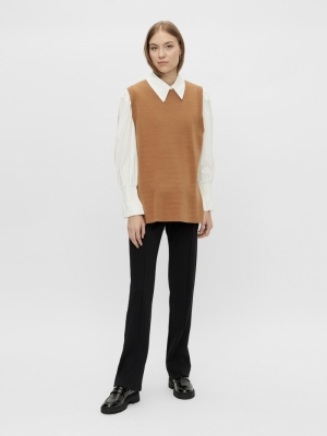 timmi knit vest tobacco brown