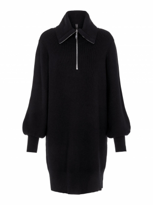 dalma zip knit dress black