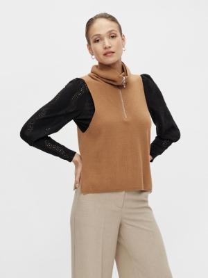 dalma zip knit vest tobacco brown