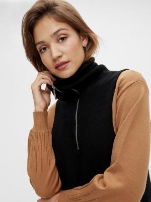 dalma zip knit vest black