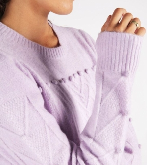 sweater R-neck sleeve dots lilac