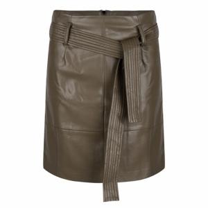 skirt short belt PU army green