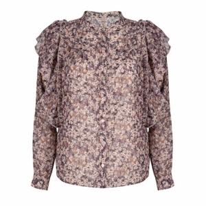 blouse pintucks lilac floral print