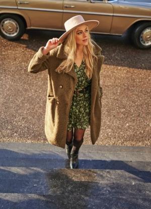 coat long boucle green
