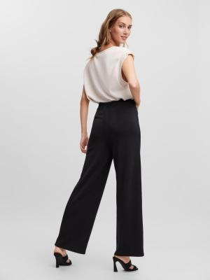 Silky detail pants. black