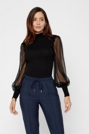 Melanie ls knit pullover Black